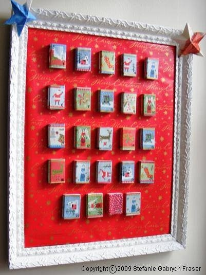 Christmas DIY Advent calendar: Match Box Advent Calendar pictured, but also ideas for Advent trees (rosemary bush) and other DIY Advent calendars.