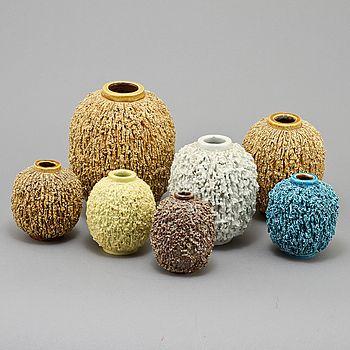 "stoneware vases, ""Igelkottsvaser"" or ""hedgehog vases"", Gunnar Nylund, Rörstrand."