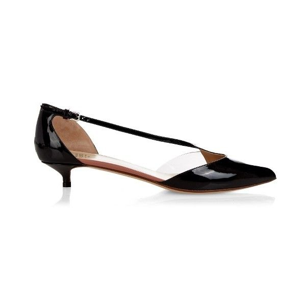 Francesco Russo Point-toe patent-leather pumps ($343) ❤ liked on Polyvore featuring shoes, pumps, black pointed toe pumps, patent leather pumps, black patent leather pumps, black patent pumps and black strap pumps