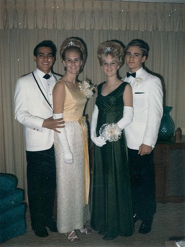 Bridget and Colleen double-date for their Prom, 1968.