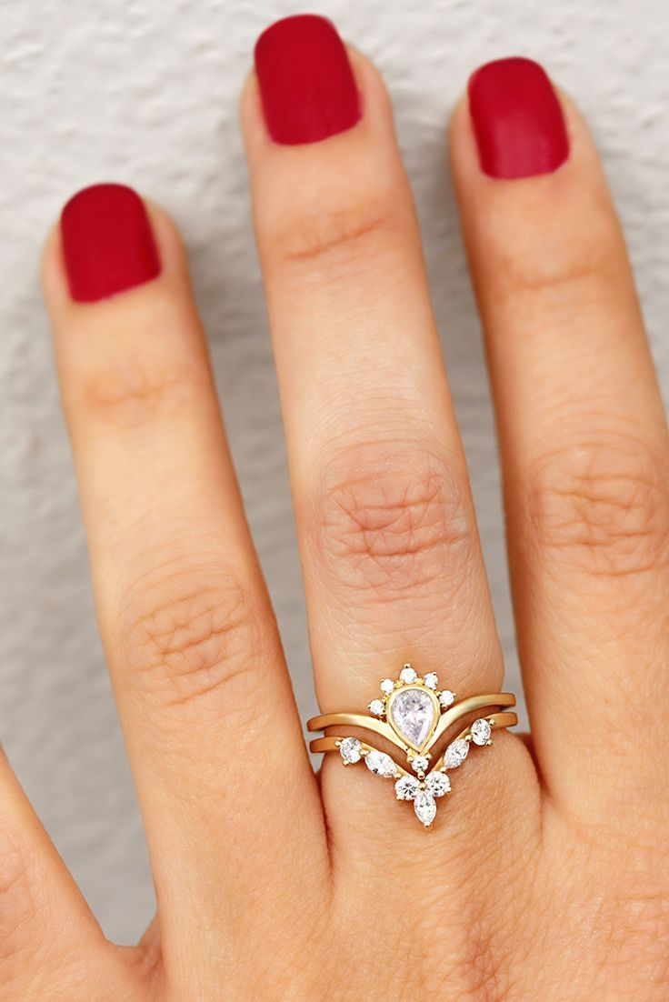 Pear Diamond Wedding Ring Set Natural Diamonds Bridal Rings Set
