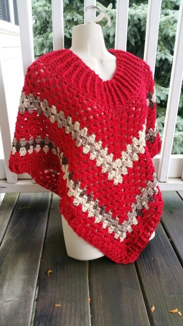 Hot Off My Hook! Project: Cowl-Neck Poncho Started: 05 Sept 2015  Completed:  08 Sept 2015 Model: Madge the Mannequin Crochet Hook(s):J,  7mm Yarn: Caron Simply Soft Color(s): Harvest Red, Coffee Latte Brown Pattern Source: Simply Crochet Magazine Issue No. 25 Pattern Designed By: Simone Francis Notes: This is my 26th Cowl-Neck Poncho! My 3rd made with Caron Simply Soft yarn! Oddly, I was inspired by Target's employee uniforms! 