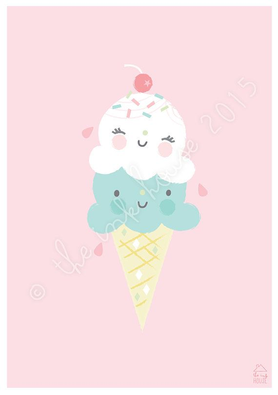 GELATO PRINT ice-cream illustration by The Ink House / Liz Alpass on Etsy