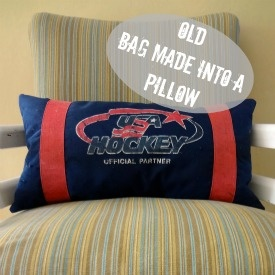 old hockey bag made into a pillow
