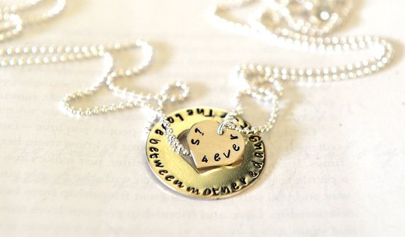 Mother Daughter Necklace Valentines Day Hand by SevenBlueberries
