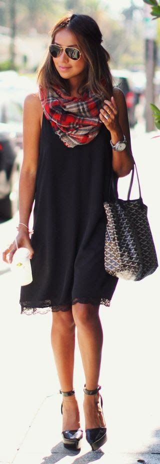 Spring 2015 Black Sleeveless Dress with Plaids Scarf and Snaker Handbag by Sincerely Jules
