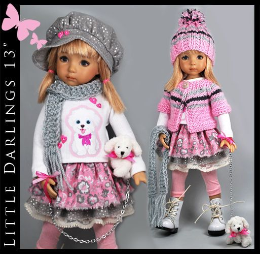 """WHITE PUPPY Versatile Outfit for Little Darlings Effner 13"""" by Maggie & Kate"""