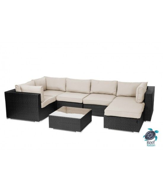 Reef rattan london 7 pc sectional sofa set midnight black for Outdoor furniture london