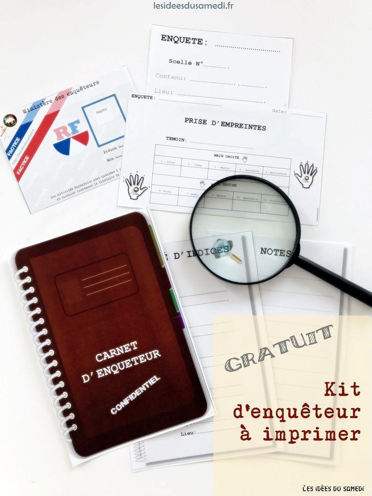 Kit Enqueteur A Imprimer Gratuitement Free Printable Carte Police Empeintes Preuves Carte De Police Jeux Enquete Escape Game Enfant