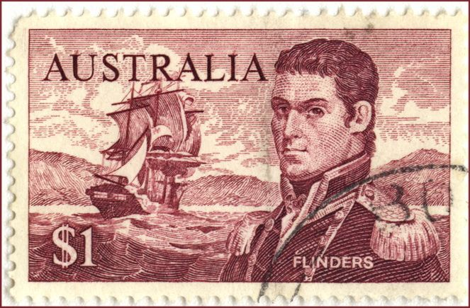 Australia $1 Flinders postage stamp. Captain Matthew Flinders RN (16 March 1774 – 19 July 1814) was a distinguished English navigator and cartographer, who was the first to circumnavigate Australia and identify it as a continent.