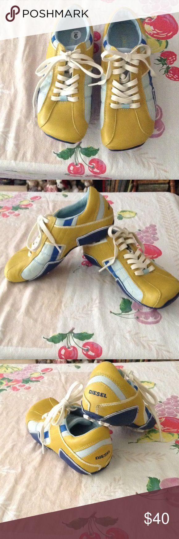 🆕DIESEL Sneakers Shoes 💙☀️🐳✈️🌟 NWOT! Leather Sneaker Shoe in Golden Yellow, Sky Blue, Ocean Blue, Dark Blue, and White. Never Worn Diesel Brand Size 6 Diesel Shoes