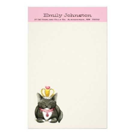 Cute Princess Kitty Custom Stationery - tap to personalize and get yours