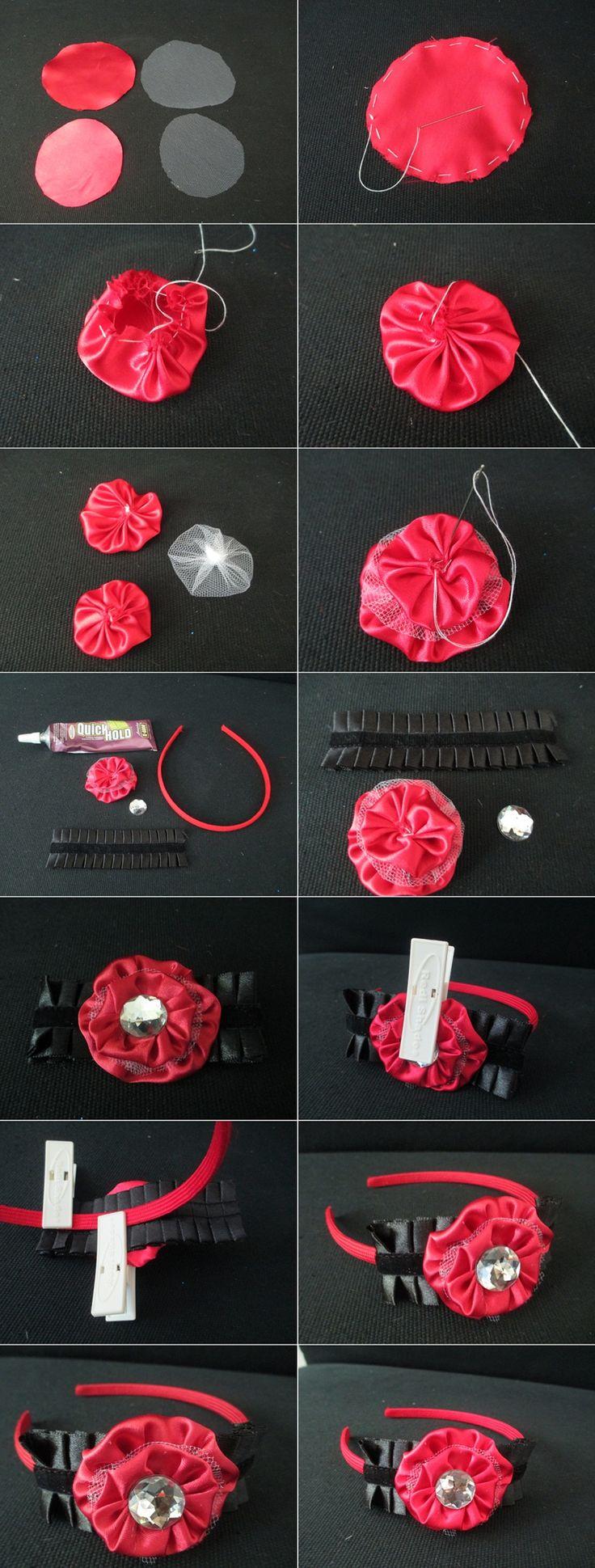 Fabric Yo-Yo Flower Headband with Decorative Fabric Ribbon