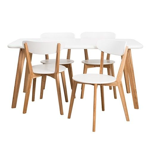 Oslo 5pce Dining Set - White - Assembly required? chairs seats?