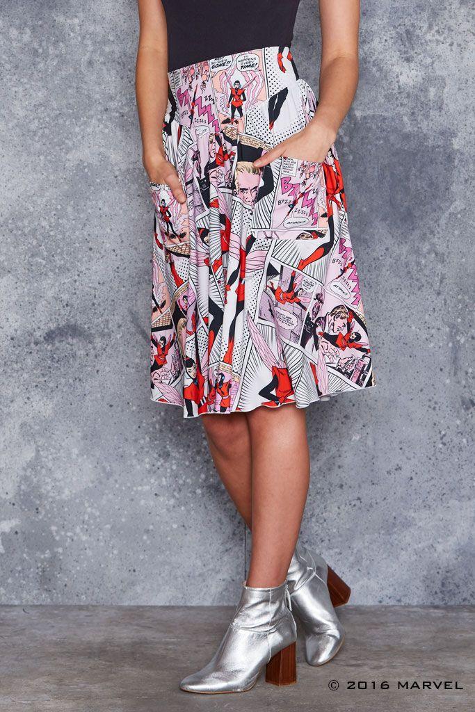 Wasp Comic Yoke Midi Skirt - LIMITED ($109AUD) by BlackMilk Clothing