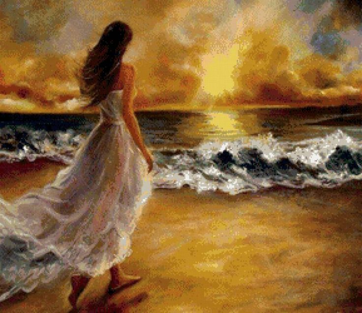девушка и море, предпросмотр