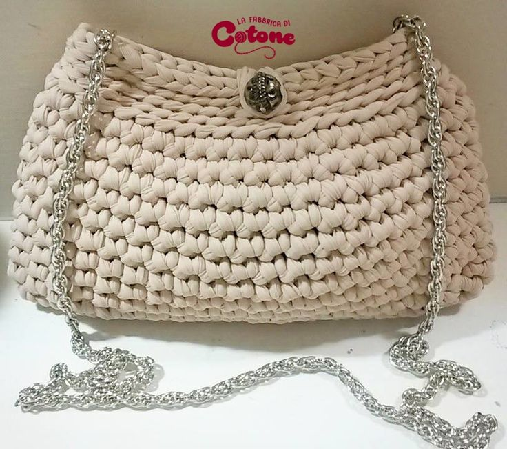 Pochette fettuccia beige tracolla argentata bags crochet