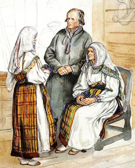FolkCostume&Embroidery: Costumes and Embroidery of Ingria, part 4 with an insight to the origin of the sarafan