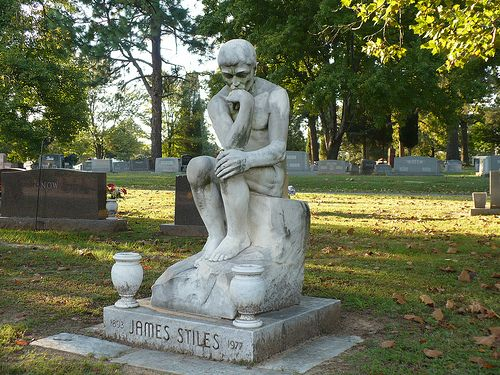 The Thinker   Grave marker at a local cemetary.   Debbie   Flickr
