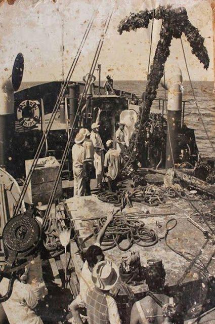 Navío San Pedro Alcántara | foto historica del izado del ancla del Galeon San pedro Alcantara