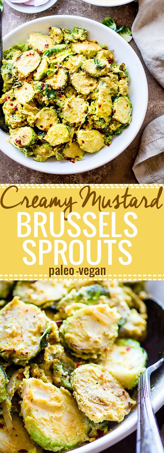 Pan Fried Creamy Mustard Brussels Sprouts Salad! A paleo Brussel Sprouts superfood salad dish tossed in a vegan creamy mustard sauce. Quick to make, packed with fiber, healthy fats, and nourishment! A healthy gluten free side dish to add to your table.
