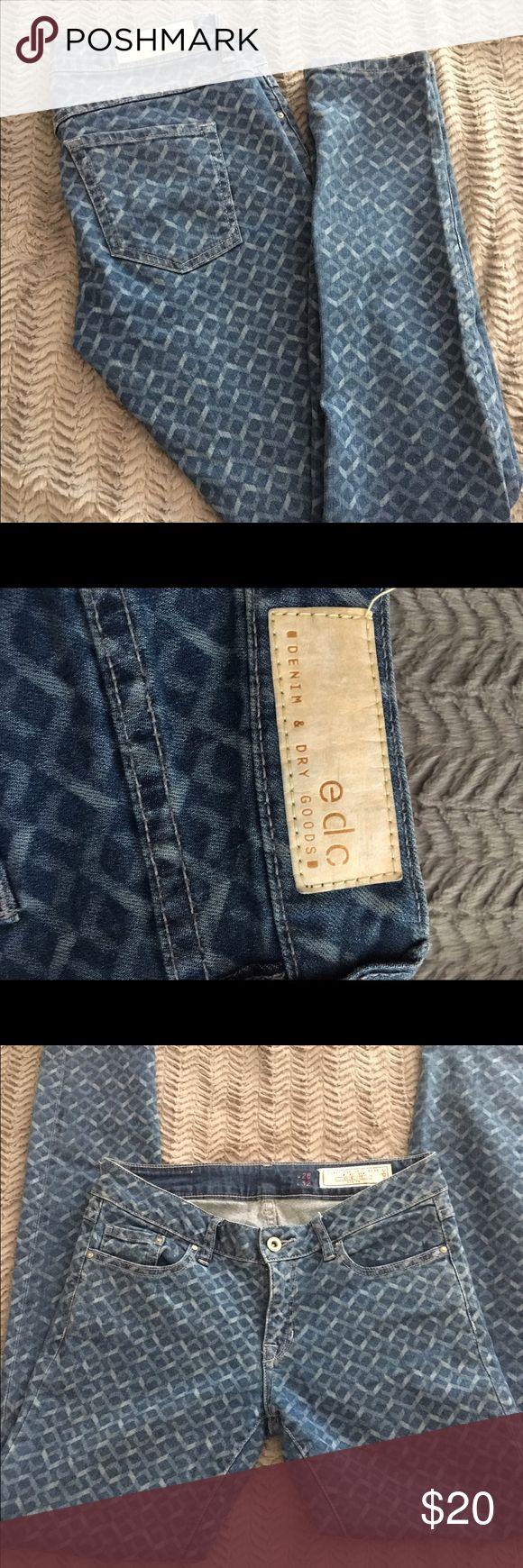 "edc denim & dry goods printed skinny jeans Like new. 99% cotton, 1% elastane. Approx. measurements: 15"" waist, 8"" rise, 32"" inseam. edc denim and dry goods Jeans Skinny"