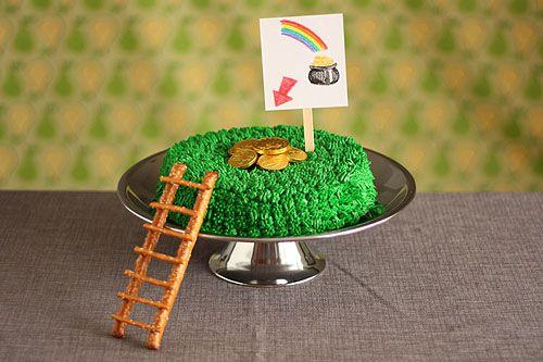 st patricks day: Pot Of Gold, Leprechaun Trapping, Trapping Cakes, St. Patrick'S Day, Rainbows Cakes, Cakes Idea, Kids Birthday Cakes, Gold Coins, Food Cakes