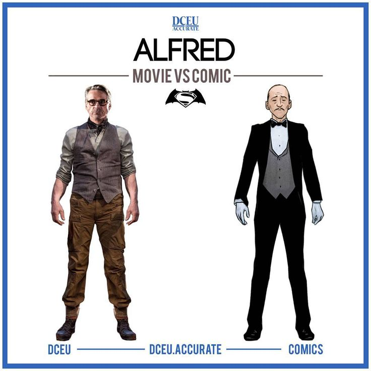 ALFRED - MOVIE VS COMIC Many people were unsettled on their opinion about Jeremy Iron's Alfred from BvS trailers because he wasn't the typical butler Alfred but after seeing him live action, I gotta admit I look forward to seeing more of him in JL! Jeremy Irons acted the character very well. Would you want to see him wearing a suit like in the comics in Justice League or have his fed-up-of-gotham look from BvS? .. Tell me what you think about this comparison below! .. #dc #dccomics #dceu…