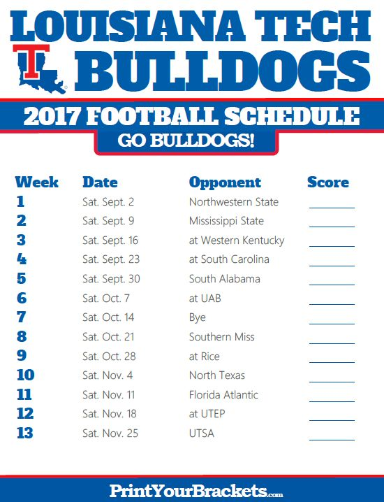2017 Louisiana Tech Bulldogs Football Schedule