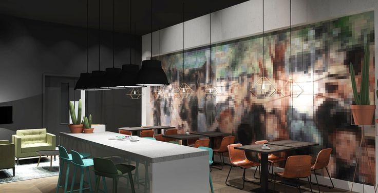 Voor het Bruynzeel Home Center heeft Jeanne van de Meulengraaf samengewerkt met interieur ontwerper Lara Burgmans.  Lara Burgmans heeft zorg gedragen voor het ontwerp en begeleiding van deze showroom.  Jeanne heeft de styling en de kleuropties bepaald en het ontwerp samen met Lara uitgevoerd. Ook heeft Jeanne een groot deel van de meubels en accessoires geleverd. #office #kantoor #interiordesign #interior #styling #ontwerp #kantoorinrichting #pixels #pixelmuur #kantine #eettafels #bar #3d