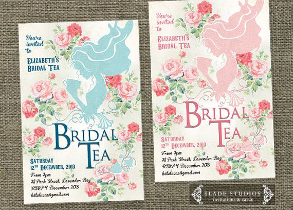 Vintage Bridal Tea invitations with shabby chic by SladeStudios