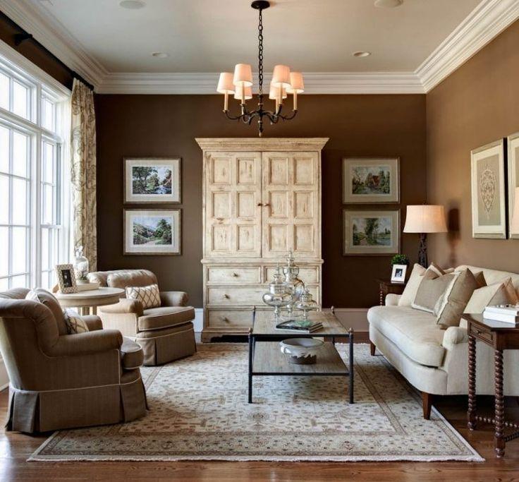 wandfarbe-ideen-farbkombinationen-wohnzimmer-braun-vintage-weiss, Wohnzimmer