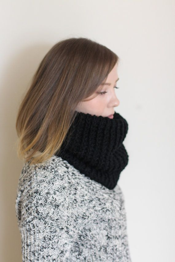 Black infinity scarf vegan cowl cruelty free  by FawnAndFolly