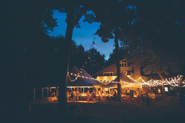 evening backyard wedding lighting