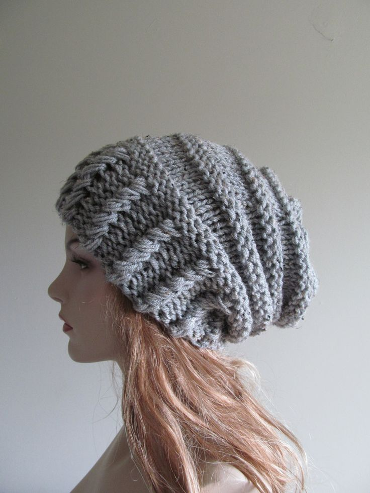 Slouchy Grey Beanie Slouch Hats Oversized Baggy womens accessory Gray Hand Made Knit. $35.99, via Etsy.