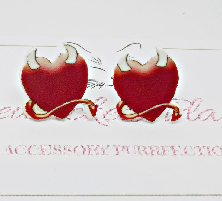 #RedHeartStuds #ValentineEarrings #RedDevilEarrings #LoveHeartPosts #GothicStuds #HornyDevilHeartEarrings by PyewacketsPlace on Etsy