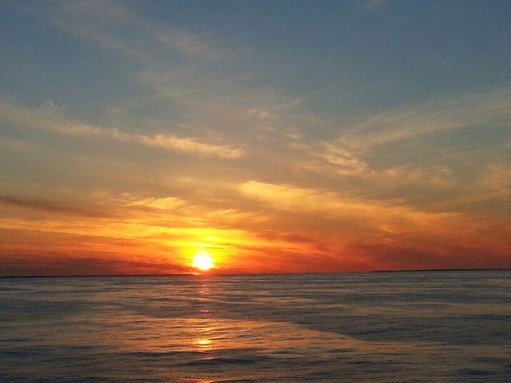 Sunset between Shetland Orkney on the Hjaltland Ferry