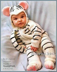 """Вязаный детский комбинезон """"Тигренок"""" - Вязание комплектов и комбинезонов для новорожденных - Вязание малышам - Вязание для малышей - Вязание для детей. Вязание спицами, крючком для малышей"""