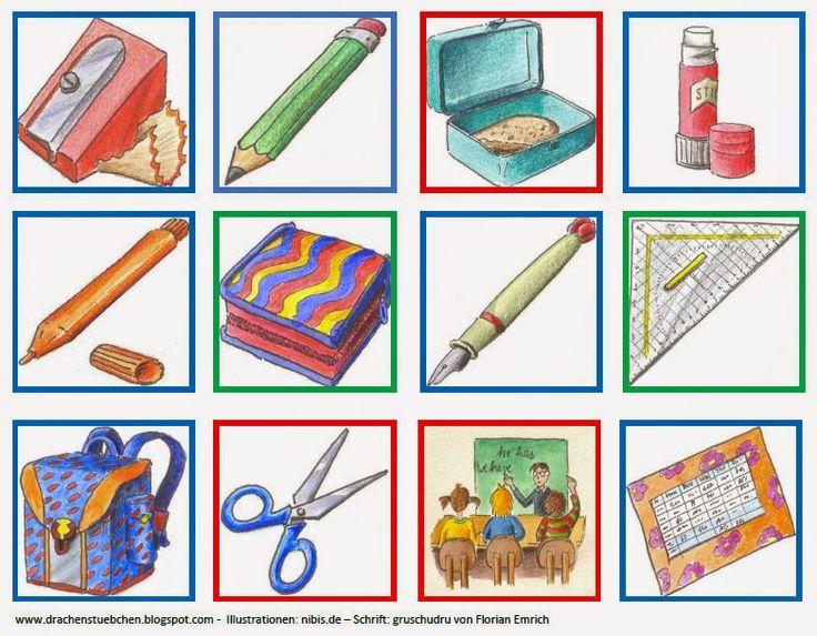 Und hier noch das passende Memoria-Spiel zu den Schulsachen rund um Mäppchen und co.    Und hier der Link zum Schulsachen Pärchensuchspiel ...