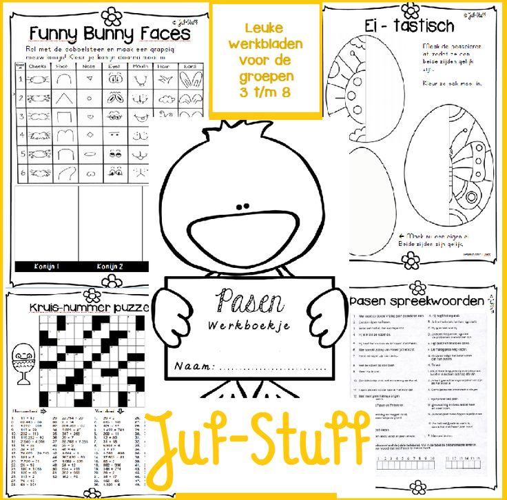 Werkbladen met thema Pasen voor de groepen 3 t/m 8 Juf-Stuff: Werkboekje Pasen, verschillende groepen