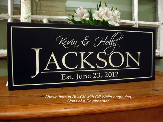 Carved Wedding Sign Bridal Shower Gift 8 X 20 Picture Wall Personalized Family Name