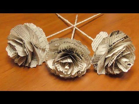 DIY Розы из газеты своими руками. Цветы из бумаги. Мастер класс \ Roses from newspapers - YouTube