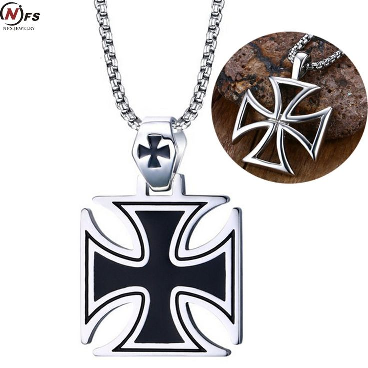 NFS Mens Corss Necklace Stainless Steel Vintage Maltese Iron Cross Pendant Necklace Knights of the Temple #Affiliate