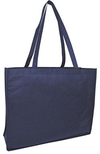 Pack of 10 Extra Large Non Woven Plain Tote Bags Well made Travel Tote by BagzDepot Navy ** Learn more by visiting the image link.