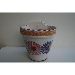 maceta colgante barro ceramica decorada
