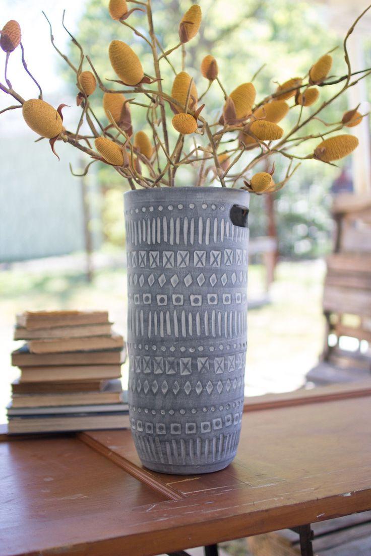 Kalalou Tall Grey Ceramic Cylinder With Cutout Handles