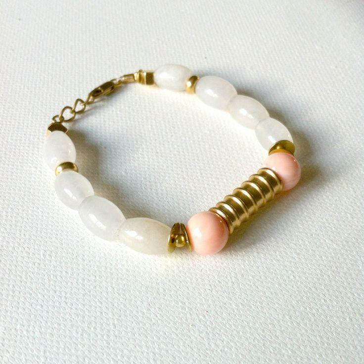 Raw brass and beads bracelet
