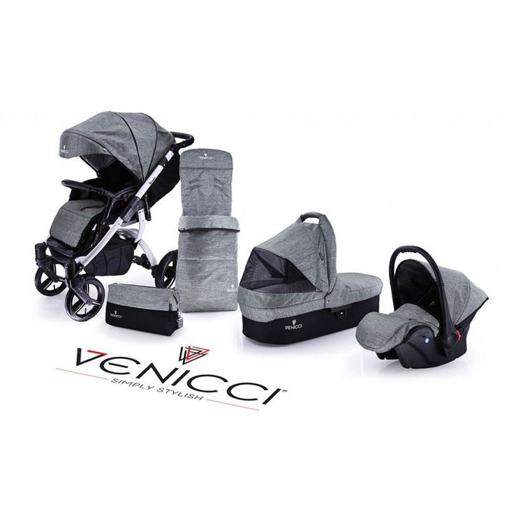 The Closed Basket Denim Grey Venicci Travel System with White Chassis, buy yours now from Pramworld!
