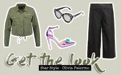 Get the Look, Olivia Palermo, Streetstyle, Fashion Blogger, Mode Blog, schwarze Lederhose, Khaki Hemd, Khaki Jacke, Metallic Pumps, whoismocca.com