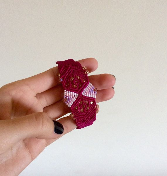Macrame bracelet in a sand clock shape and butterfly